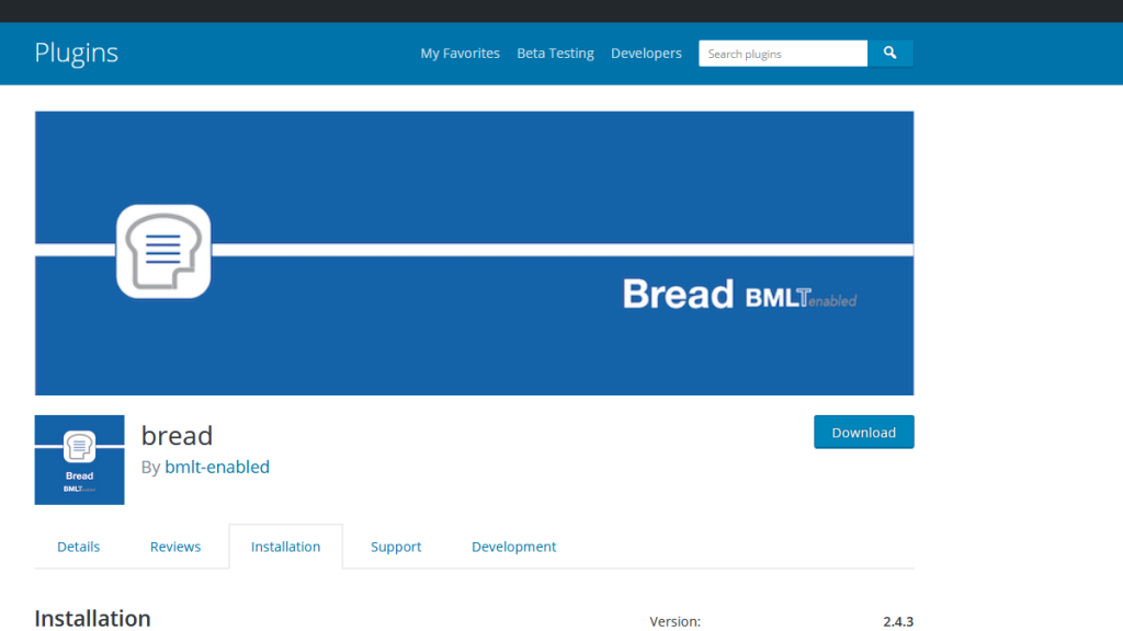 Bread WordPress Install