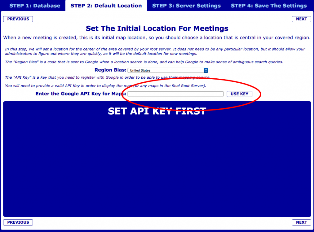 BMLT Server Google Map API Key